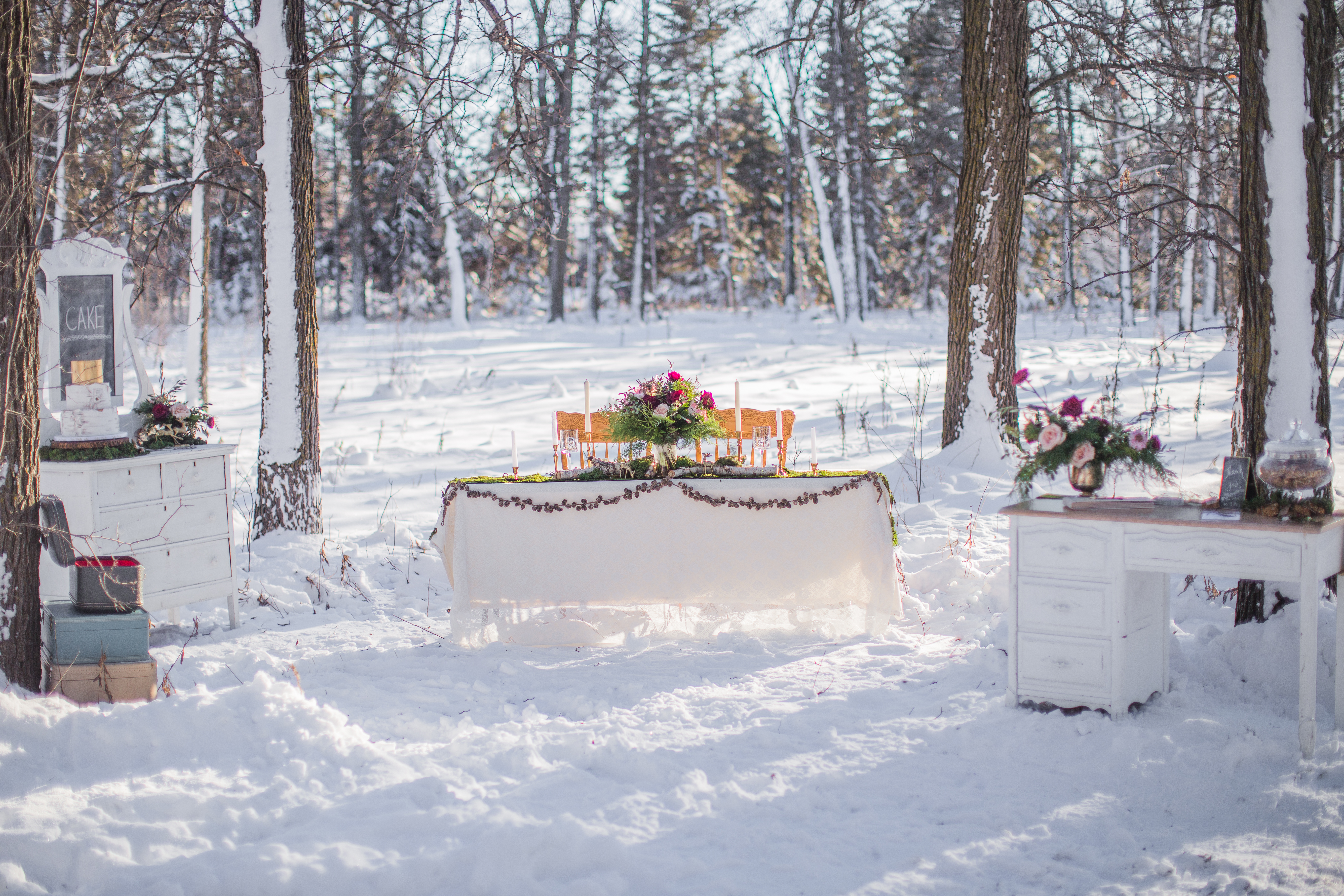 Vintage winter wedding in the forest