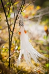 Cruelty free feather wedding earrings