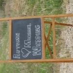 Vintage chalkboard easel highway sign