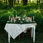 Sweet heart table in the woods