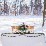Sweet heart table in the snow