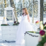 Winter Bride and Vintage Cake Table in the Snow