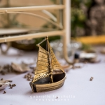 Vintage brass sailboat at Gimli Park Pavilion