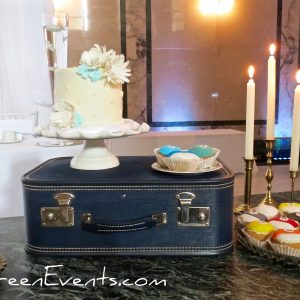 Vintage blue wooden suitcase